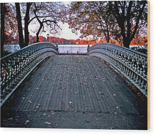 Pond Footbridge Wood Print