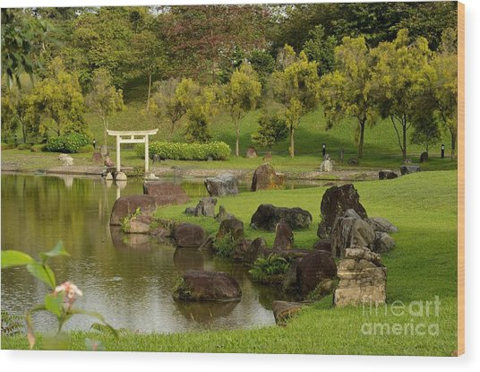 Pond Rocks Grass And Japanese Arch Singapore Wood Print