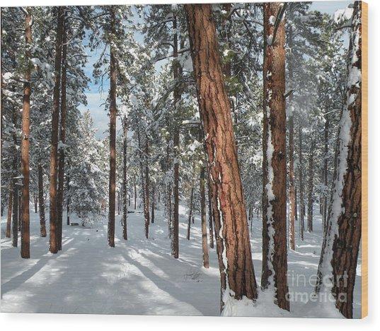 Ponderosa Winter Wood Print
