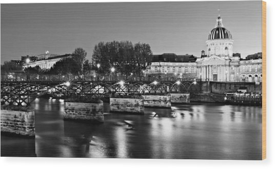 Wood Print featuring the photograph Pont Des Arts At Night / Paris by Barry O Carroll