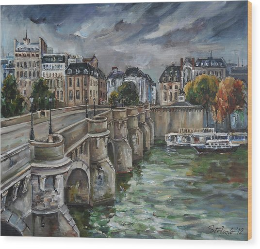 Pont Neuf At Dusk Wood Print