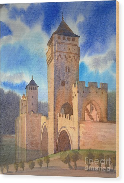Pont Volontre Cahors France Wood Print by Katia Weyher