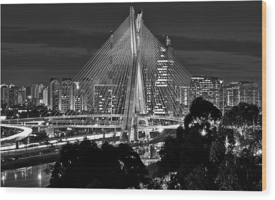 Sao Paulo - Ponte Octavio Frias De Oliveira By Night In Black And White Wood Print