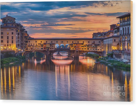 Ponte Vecchio At Sunset Wood Print