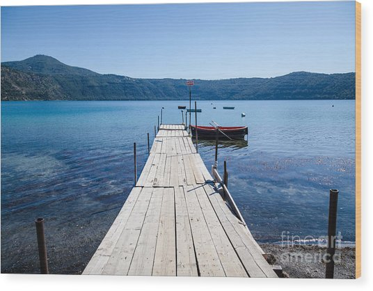 Pontoon With Rowing Boat On Lake Albano Lazio Italy Wood Print