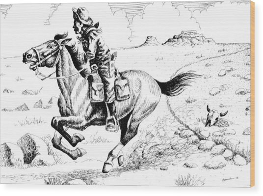 Pony Express Rider Wood Print