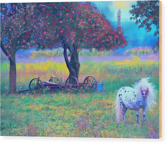 Pony In Pasture Wood Print