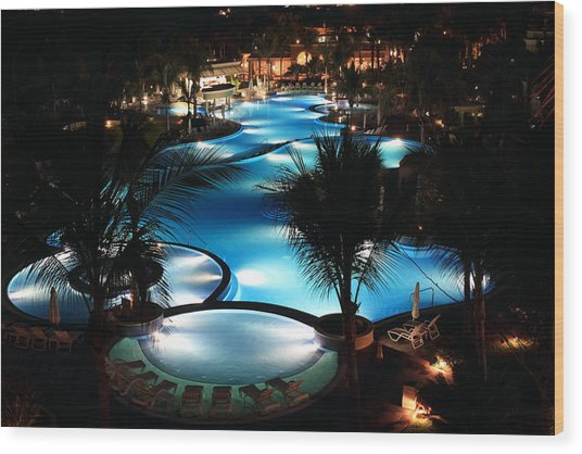 Pool At Night Wood Print
