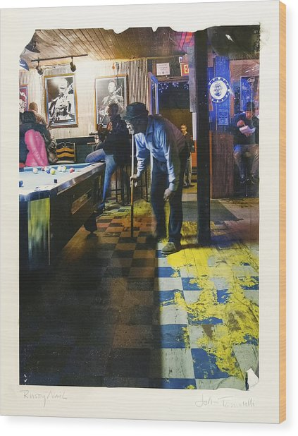 Pool Hall - The Rusty Nail Polaroid Transfer Wood Print