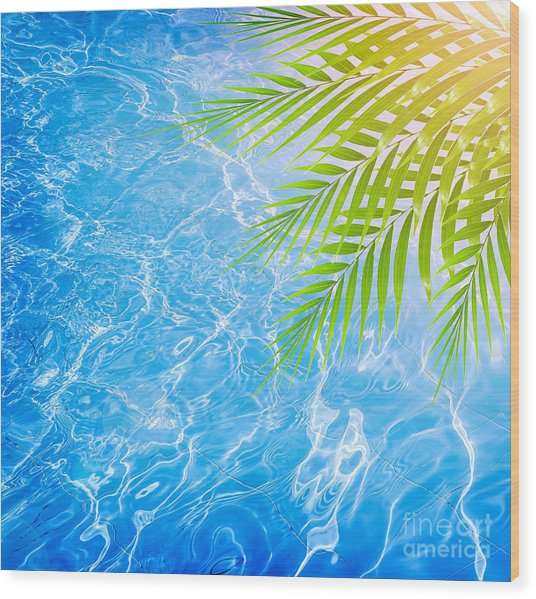 Poolside On Tropical Beach Wood Print by Anna Om