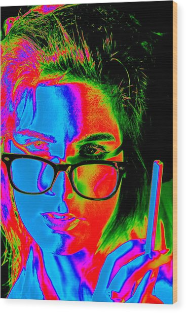 Pop Art Lady Wood Print by Arie Arik Chen