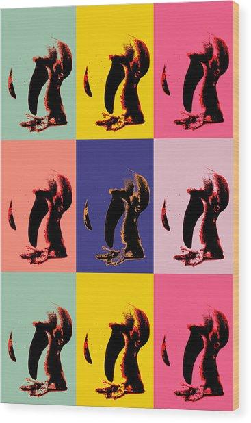 Pop Art Penguin  Wood Print