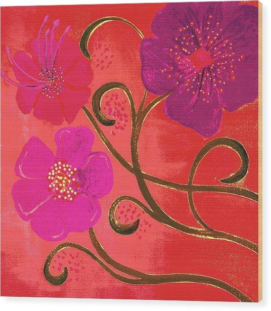Pop Spring Purple Flowers Wood Print
