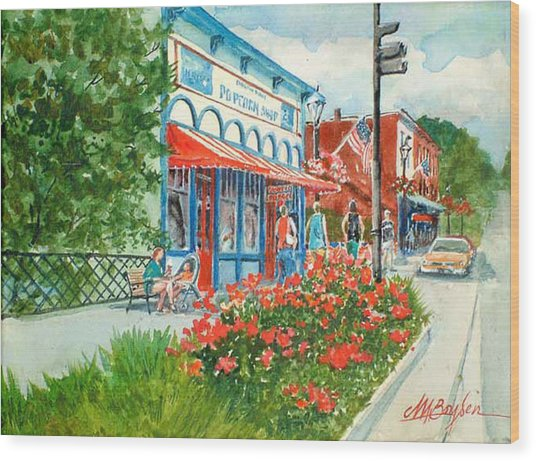 Popcorn Shop In Summer/chagrin Falls Wood Print
