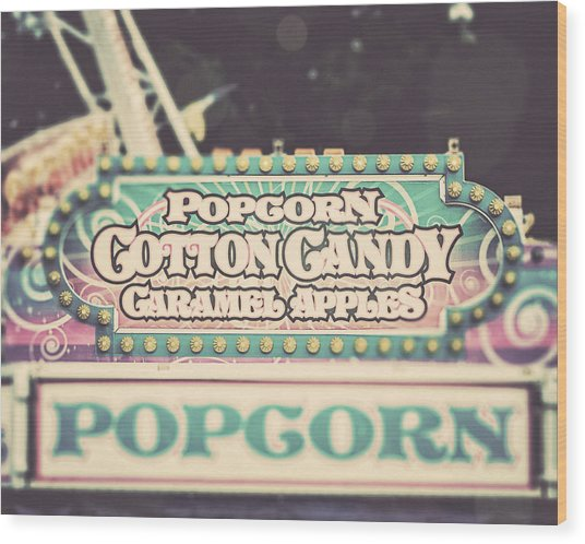 Popcorn Stand Carnival Photograph From The Summer Fair Wood Print by Lisa Russo