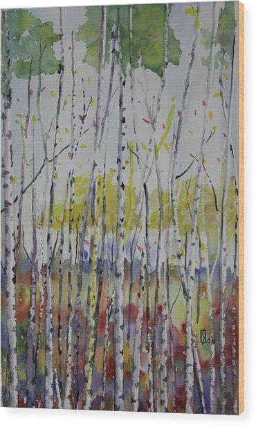 Poplars In Fall Wood Print