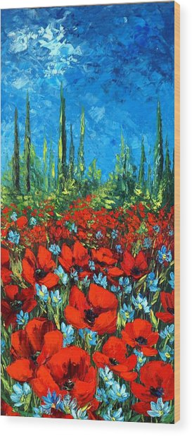 Poppie Field Wood Print