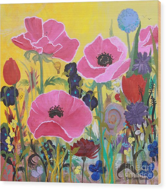 Poppies And Time Traveler Wood Print