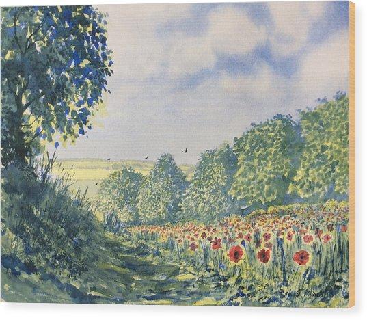 Poppies A'plenty Wood Print