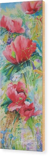 Poppies At Play Wood Print