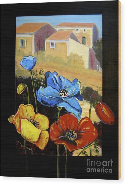 Poppies Citiscape Wood Print