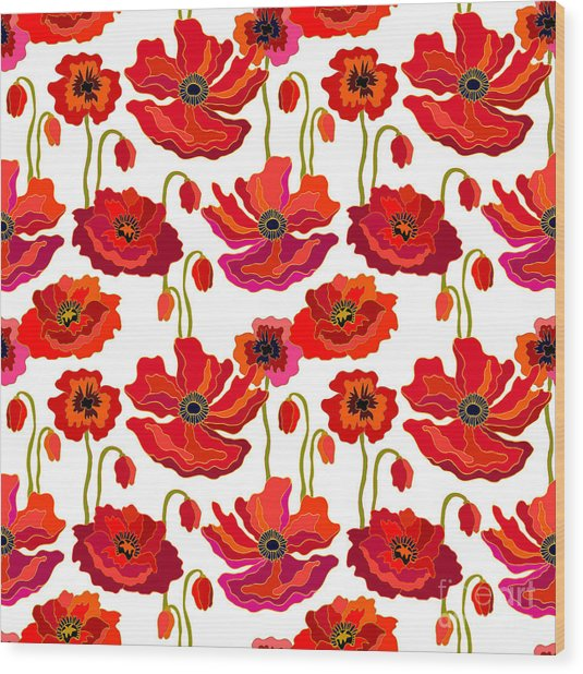 Poppies Field. Seamless Vector Pattern Wood Print