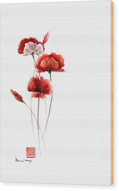 Poppies flowers pink orange red poppy flower giclee fine art print poppies flowers pink orange red poppy flower giclee fine art print of watercolor painting wood print mightylinksfo