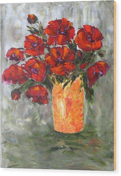 Poppies In Orange Vase Wood Print