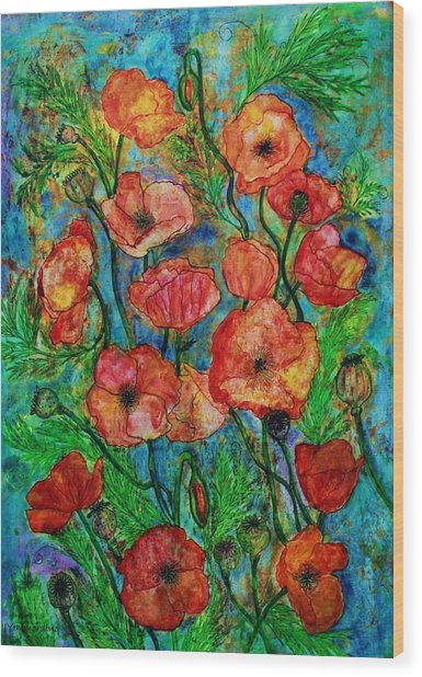 Poppies In Storm Wood Print
