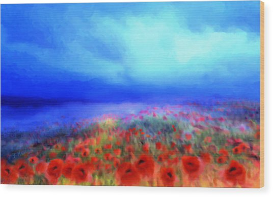 Poppies In The Mist Wood Print
