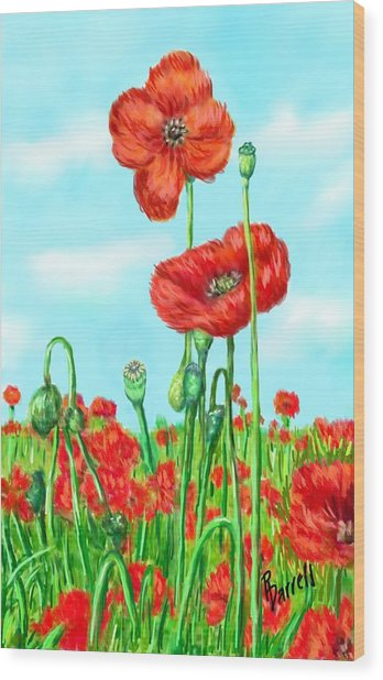 Poppies N' Pods Wood Print