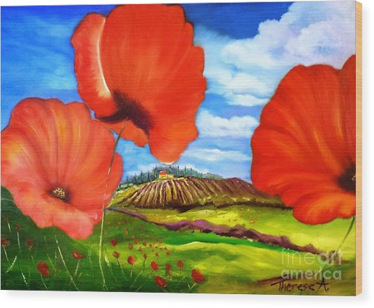 Poppies Of Provence Wood Print