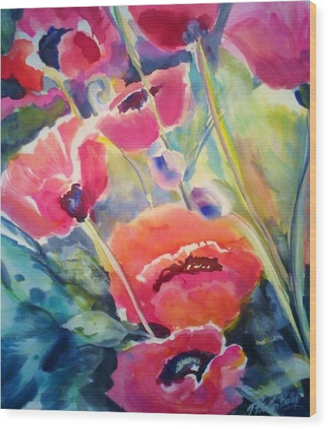 Poppies That Dance Original  Wood Print by Therese Fowler-Bailey