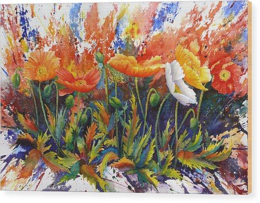 Poppy Blast Wood Print