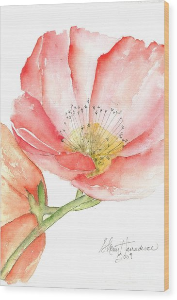 Poppy Bloom Wood Print