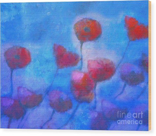 Poppy Blues Wood Print by Lutz Baar