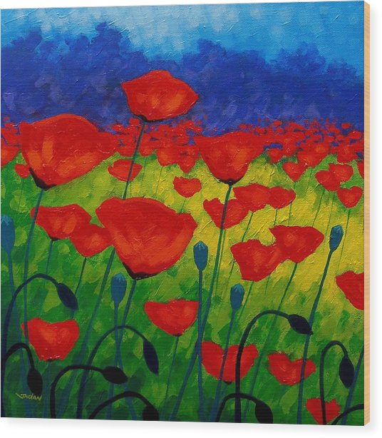 Poppy Corner II Wood Print