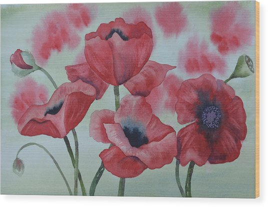 Poppy Dance Wood Print