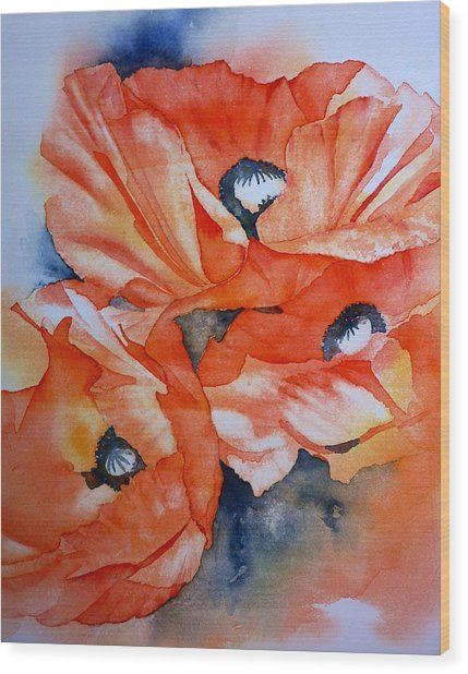 Poppy-faces Wood Print by Thomas Habermann
