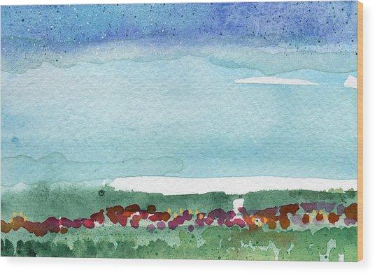 Poppy Field- Landscape Painting Wood Print
