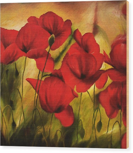 Poppy Flowers At Dusk Wood Print