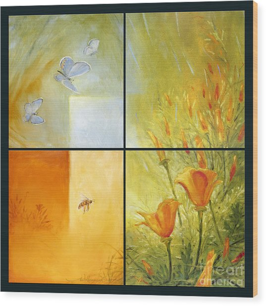 Poppy Pollination Wood Print