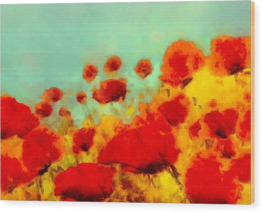 Wood Print featuring the painting Poppy Time by Valerie Anne Kelly