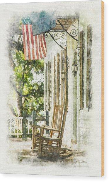 Porch Rocker At The Kaminski House Wood Print