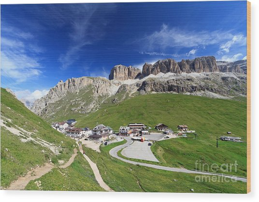 Pordoi Pass And Mountain Wood Print