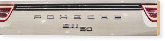 Porsche 50th Anniversary Rear Badge Wood Print