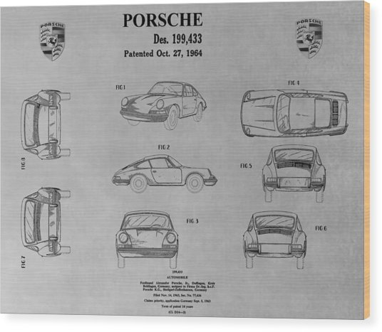 Porsche 911 Patent Wood Print