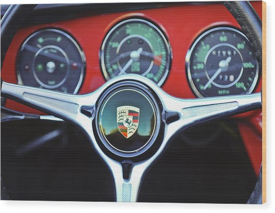 Porsche C Steering Wheel Emblem -1227c Wood Print