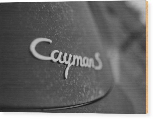 Standing Porsche Cayman S Wood Print