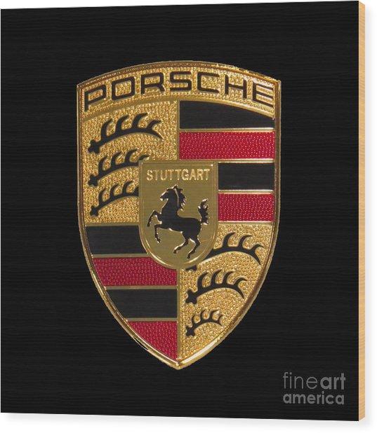 Porsche Emblem - Black Wood Print